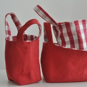 Reversible kitchen picnic basket set, half yard project, easy sewing tutorial for home organisation